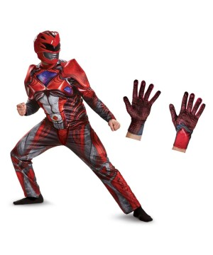Red Power Ranger Movie Men Costume and Gloves