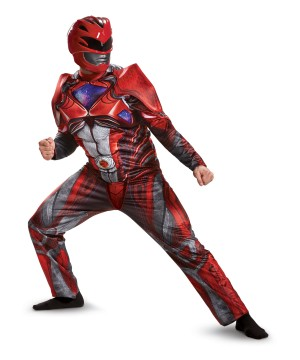 Red Power Ranger Movie Men Muscle Costume