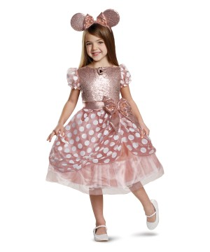 Rose Gold Minnie Deluxe Girl Costume
