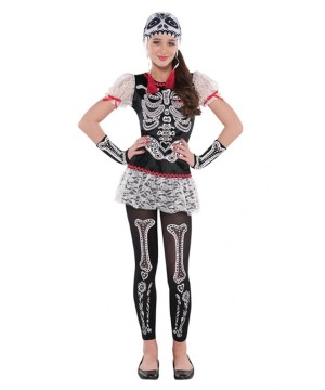 Day Of The Dead Sassy Skeleton Girls Costume