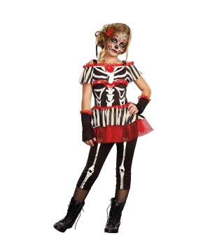 Senorita Bone?ita Girls Skeleton Print Day Of The Dead Costume