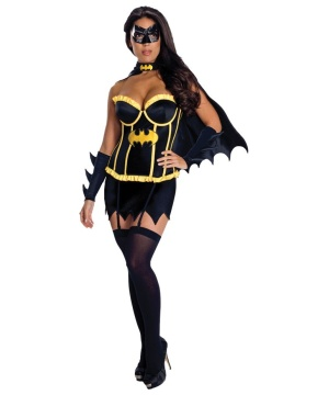 Batman Sidekick Sexy Batgirl Woman Costume Deluxe Black Corset