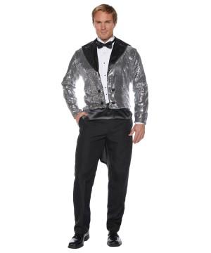 Silver Sequin Tails Men Jacket