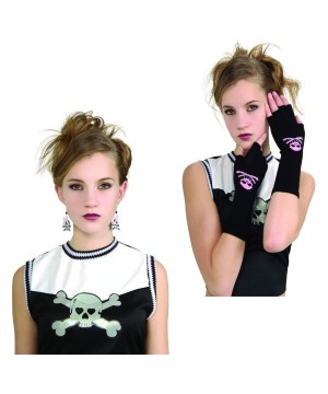 Skull Gloves And Earrings Girls Costume Kit