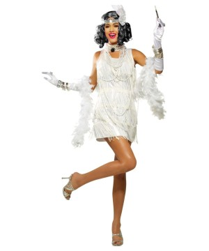 1920s Snazzy White Flapper Dress Woman Costume