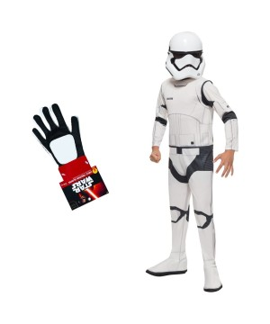 Star Wars The Force Awakens Stormtrooper Boys Costume And Gloves Set