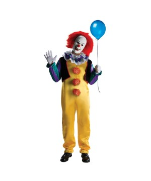 Stephen Kings It Pennywise Mens Scary Clown Halloween Costume Deluxe