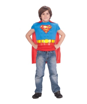 Boys Superman Muscle Costume Shirt And Cape