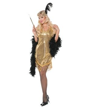 1920s Gold Swinging Flapper Woman Costume
