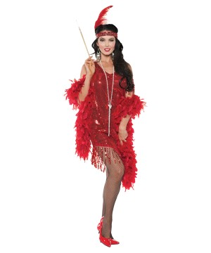 Red Flapper Swinging Woman Costume