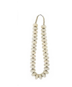 White And Black Beaded Silver Tibetan Necklace