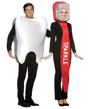 Tooth Toothbrush Couple Costume