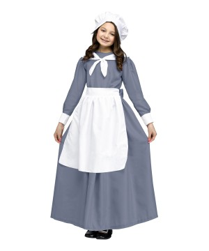 Traditional Pilgrim Girls Historic Colonial Thanksgiving Costume