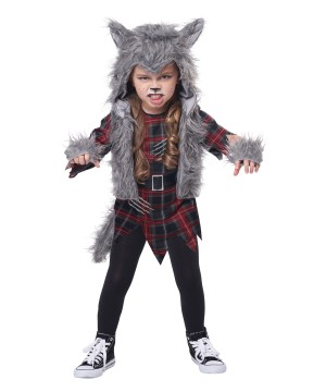 Toddler Girl Howling Wolf Pup Costume