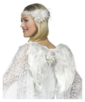 White Angel Women Headband And Wings Set