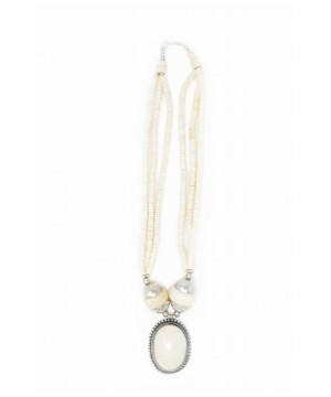 White Beaded And Silver Tibetan Necklace Jewelry