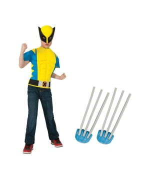 Wolverine Boys Muscle Shirt And Claws Boys Costume Set