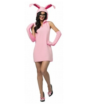 Women's Christmas Story Pink Bunny Costume Dress For Ladies